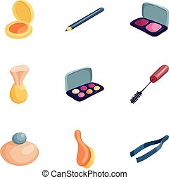 Personal care icons set, cartoon style