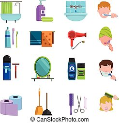 Personal care products flat icons set - Personal care ...