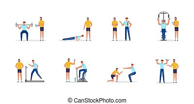 Personal coach or trainer and client, flat vector illustrations set isolated.