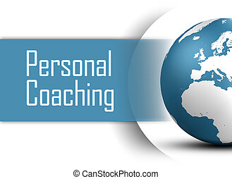 Personal Coaching concept with globe on white background