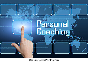 Personal Coaching concept with interface and world map on blue background