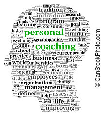 Personal coaching in tag cloud of human head shape on white