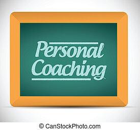 personal coaching message written on a blackboard