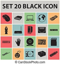 Personal computer black icons in set collection for design. Equipment and accessories vector symbol stock web illustration.