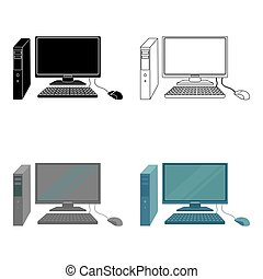 Personal computer icon in cartoon style isolated on white background. Office furniture and interior symbol stock vector illustration.