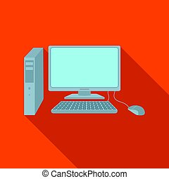 Personal computer icon in flat style isolated on white background. Office furniture and interior symbol stock vector illustration.