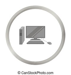 Personal computer icon in monochrome style isolated on white background. Office furniture and interior symbol stock vector illustration.