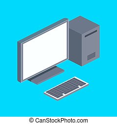 Personal computer isometric vector illustration