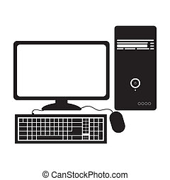 personal computer over white background vector illustration