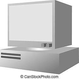 Personal computer - Personal desktop computer, from 3d...