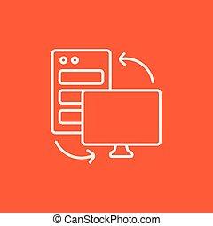 Personal computer set line icon.
