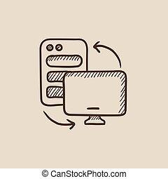 Personal computer set sketch icon.