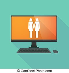 Personal computer with a lesbian couple pictogram