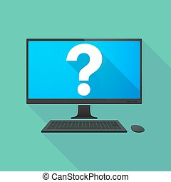 Personal computer with a question sign
