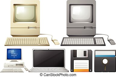 Personal computer with monitors and keyboards illustration