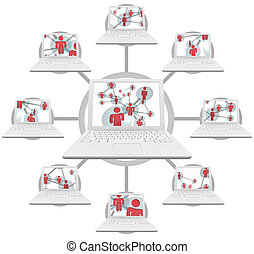 Personal Connections - Computer Technology - Illustration of...