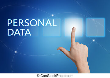 Personal Data - hand pressing button on interface with blue ...