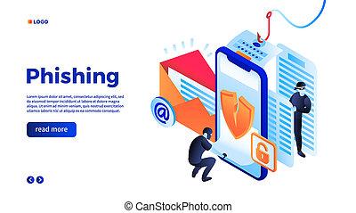 Personal data phishing concept background, isometric style