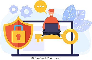 Personal data protection concept. Vector flat cartoon graphic design isolated illustration
