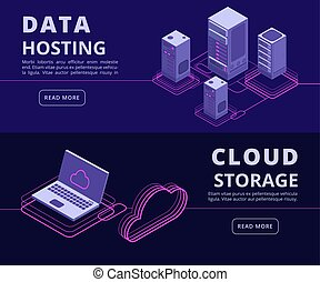 Personal data protection, hosting solutions, computer synchronization, data networking vector banners set with isometric computers