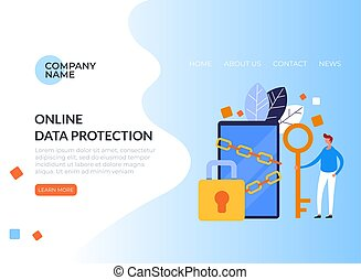 Personal data protection key concept. Vector flat graphic design illustration