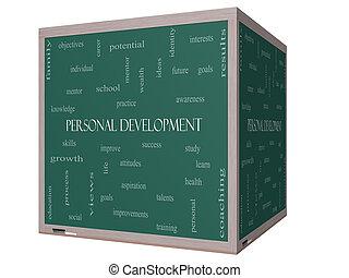 personal, desarrollo, palabra, nube, concepto, en, un, 3d, cubo, pizarra