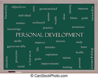 personal, desarrollo, palabra, nube, concepto, en, un, pizarra