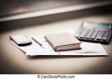 personal, desk., pluma, oficina, organizador