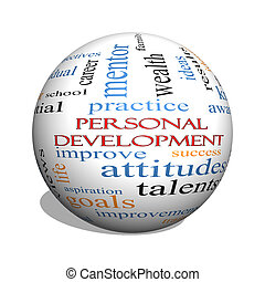 Personal Development 3D sphere Word Cloud Concept with great...