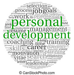 Personal development and career concept in word tag cloud on...
