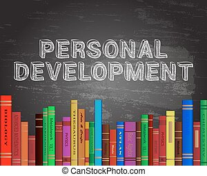 Personal development words on blackboard with books background