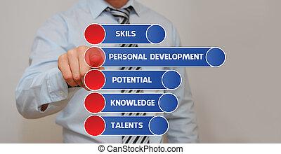 Personal Development - Businessman pressing an imaginary ...