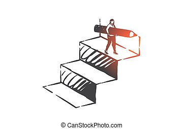 Personal development, career ladder, self improvement concept sketch. Businesswoman character achievement, business coaching, training, motivation and ambition metaphor. Hand drawn isolated vector