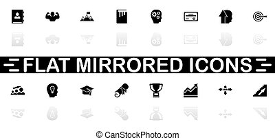 Personal Development icons - Black symbol on white background. Simple illustration. Flat Vector Icon. Mirror Reflection Shadow. Can be used in logo, web, mobile and UI UX project.