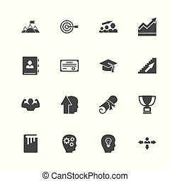 Personal Development icons. Perfect black pictogram on white background. Flat simple vector icon.