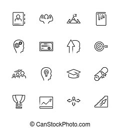 Personal Development outline icons set - Black symbol on white background. Personal Development Simple Illustration Symbol - lined simplicity Sign. Flat Vector thin line Icon - editable stroke