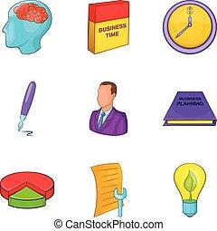 Personal development icons set. Cartoon set of 9 personal development vector icons for web isolated on white background