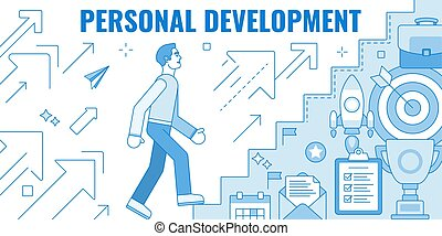 Flat design style modern vector illustration concept of cartoon man climbing the staire to success and progress, winner performance and personal career improvement. Isolated on white background