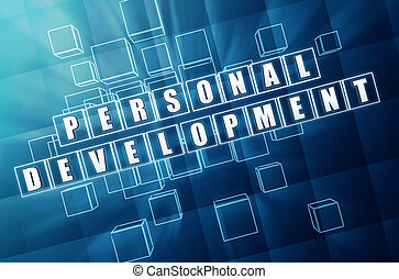 personal development in blue glass cubes