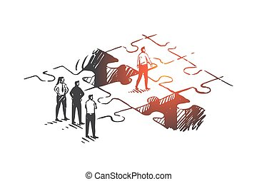 Personal development, job promotion, leadership concept sketch. Hand drawn isolated vector