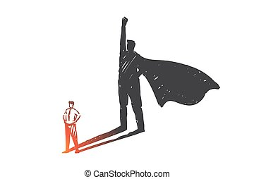Personal development, leadership, ambition concept sketch. Businessmen with super hero in cape shadow, success, self improvement, career goals and achievement metaphor. Hand drawn isolated vector
