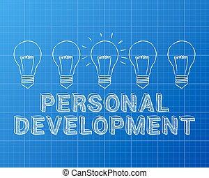 Hand drawn personal development sign and light bulb on blueprint background
