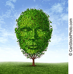 Personal development and personality growth as a medical symbol of psychology as a tree in the shape of a front facing human head as intelligence and social thinking for mental behavior health.