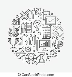 Personal development round illustration. Vector reaching goals concept symbol made with thin line icons