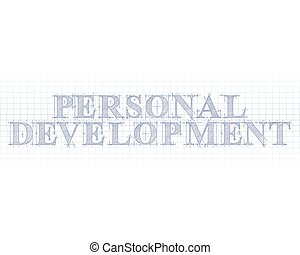 Personal development word in technical drawing on graph paper