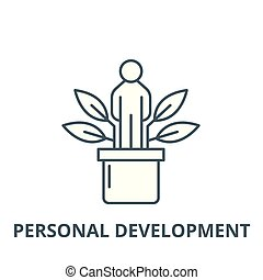 Personal development vector line icon, outline concept, linear sign