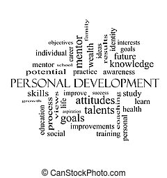 Personal Development Word Cloud Concept in black and white...