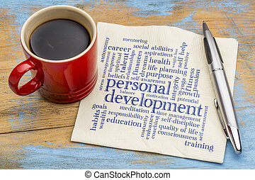 personal development word cloud on napkin