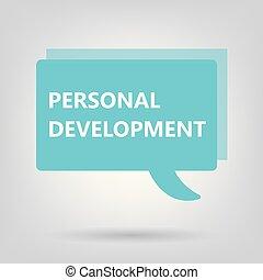 personal development written on speech bubble- vector illustration