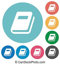 Personal diary flat round icons
